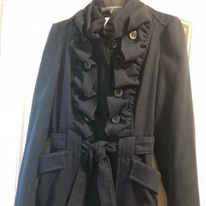 NWOT Navy Ruffle Gianni Bini pea coat